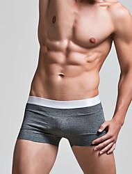 baratos -homens normais, micro-elásticos, sólidos, boxers, underwear médio algodão 1pc cinza vermelho branco azul