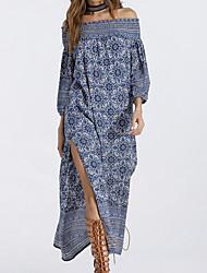 abordables -Femme Balançoire Robe - Imprimé, Géométrique Epaules Dénudées Midi