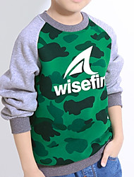 abordables -Pull à capuche & Sweatshirt Garçon Quotidien Ecole Imprimé Coton Printemps Manches Longues Actif Bleu Marron Vert Noir Vert Véronèse