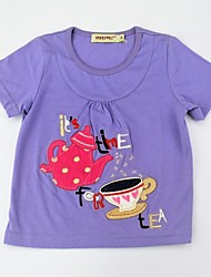 cheap -Girls' Daily Print Color Block Tee, Cotton Summer Short Sleeves Cute Active Purple Yellow