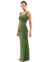 baratos -Mulheres Básico Algodão Bainha Vestido Sólido Cintura Alta Longo / Primavera / Verão