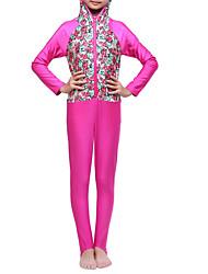 cheap -Girls' Boho Floral Color Block Swimwear, Polyester Nylon Spandex Fuchsia Light Blue