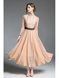 cheap -Women's Lantern Sleeve Slim Sheath Chiffon Dress - Solid Colored Lace Pleated High Waist Maxi Turtleneck