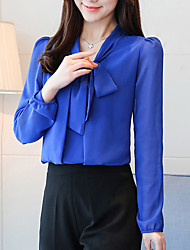 cheap -Women's Going out Street chic Loose Blouse - Solid Colored Bow