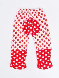 abordables -Pantalons Fille Quotidien Vacances Points Polka Rayé Coton Polyester Printemps Automne Manches Longues Actif Rouge Rose Claire Vert