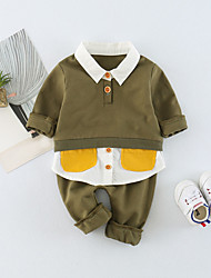 cheap -Baby Unisex Daily Solid Clothing Set, Cotton Spring Summer Cute Active Long Sleeves Dark Gray Army Green