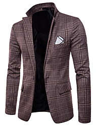 cheap -Men's Basic Business Casual Slim Blazer-Plaid Notch Lapel / Long Sleeve / Work