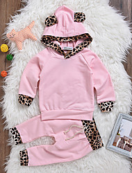 cheap -Baby Girls' Daily Leopard Clothing Set, Cotton Spandex Spring Summer Street chic Long Sleeves Blushing Pink