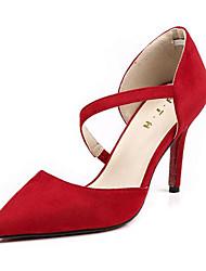 preiswerte -Damen Schuhe Nubukleder Frühling Herbst Pumps Komfort High Heels Stöckelabsatz für Schwarz Grau Rot