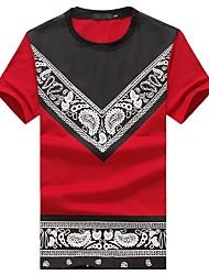 preiswerte -Herrn Gestreift Blumen Einfarbig - Boho Klub Baumwolle T-shirt, Rundhalsausschnitt Schlank Druck Patchwork