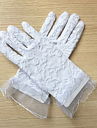 cheap -Lace Wrist Length Glove Flower Girl Gloves With Embroidery