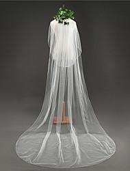 baratos -Duas Camadas Clássico Véus de Noiva Véu Catedral Com Franja Tule