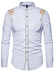 cheap -Men's Business Chinoiserie Cotton Shirt - Striped, Embroidered