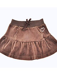 cheap -Girls' Daily Holiday Solid Skirt, Cotton Polyester Spring Fall Half Sleeves Simple Brown