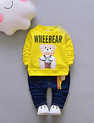 cheap -Unisex Daily Going out Solid Print Jacquard Clothing Set, Cotton Spring Fall Long Sleeves Cute Red Navy Blue Yellow