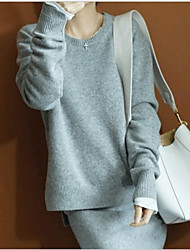 cheap -Women's Long Sleeves Cashmere Loose Pullover - Solid Colored