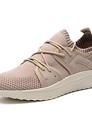 baratos -Homens sapatos Tricô Primavera Verão Conforto Tênis para Casual Ao ar livre Branco Preto Branco/Preto Khaki