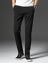baratos -ascensão média normal dos homens>75% calças chinos, vintage algodão sólido fibra de bambu primavera spandex