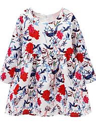 abordables -Robe Fille de Quotidien Couleur Pleine Coton Lin Fibre de bambou Acrylique Printemps Manches Longues simple Rétro Rouge