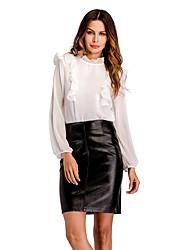 preiswerte -Damen Solide - Niedlich Street Schick Bluse Rüsche