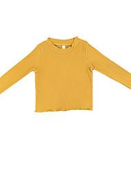 preiswerte -Mädchen Pullover & Cardigan Alltag Solide Polyester Frühling Langarm Einfach Gelb