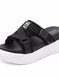 cheap -Women's Shoes Fabric Summer Comfort Slippers & Flip-Flops Flat Heel Round Toe White / Black / Red