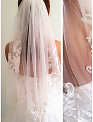 cheap -One-tier Modern Style Bridal Princess Simple Style Wedding Wedding Veil Elbow Veils 53 Fringe Splicing Lace Tulle