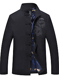 cheap -Men's Jacket - Solid, Embroidered