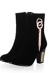 baratos -Mulheres Sapatos Courino Inverno Botas da Moda Botas Salto Robusto Ponta Redonda Botas Cano Médio Pedrarias Mocassim para Festas & Noite