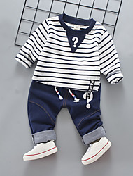 cheap -Boys' Daily Holiday Solid Striped Clothing Set, Cotton Acrylic Polyester Spring Summer Long Sleeves Simple Casual Red Navy Blue Light Blue