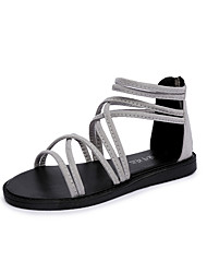 cheap -Women's Shoes PU(Polyurethane) Spring / Summer Comfort Sandals Flat Heel Open Toe Braided Strap Black / Light Grey