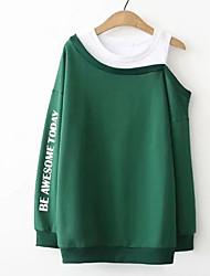 abordables -Femme Grandes Tailles Sweatshirt - Imprimé, Couleur Pleine Coton / Printemps / Automne