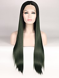 cheap -Synthetic Lace Front Wig Straight Layered Haircut Synthetic Hair Color Gradient / Middle Part Black / Green Wig Women's Mid Length Lace Front Black / Dark Green