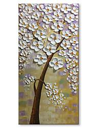 Ručno oslikana Sažetak Cvjetni / Botanički Vertikalno, Comtemporary Moderna Platno Hang oslikana uljanim bojama Početna Dekoracija Jedna