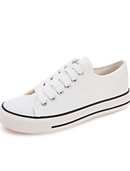 cheap -Women's Shoes PU Summer Light Soles Oxfords Low Heel Pointed Toe Lace-up for White Black