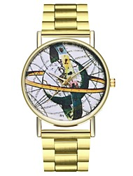 cheap -Women's Creative Casual Watch Punk Stainless Steel Band Analog World Map Gold - Gold One Year Battery Life / Large Dial / SSUO LR626