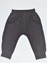 cheap -Girls' Daily Solid Pants, Cotton Spring Summer Casual Black Dark Gray