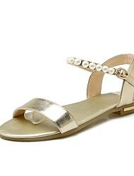 preiswerte -Damen Schuhe Leder / PU Frühling / Sommer Komfort Sandalen Walking Flacher Absatz Offene Spitze Booties / Stiefeletten Schnalle Gold /