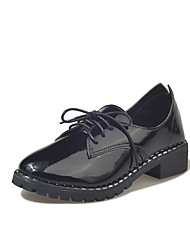 cheap -Women's Shoes PU Winter Comfort Oxfords Round Toe for Casual Black Wine