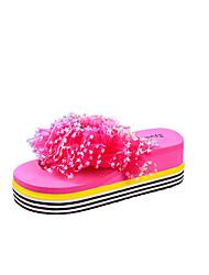 baratos -Mulheres Sapatos Couro Ecológico Verão Conforto Sandálias Caminhada Creepers Dedo Aberto Presilha Amarelo / Vermelho Rosa / Rosa claro