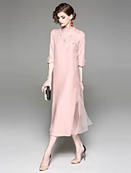 baratos -Mulheres Básico Solto Vestido - Bordado, Floral Médio