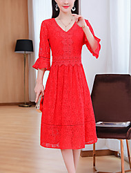 cheap -Women's Going out Sophisticated Boho A Line Sheath Dress - Solid Color Red, Lace V Neck