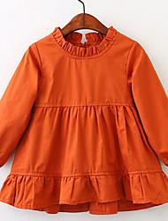 abordables -Robe Fille de Quotidien Vacances Couleur Pleine Coton Printemps Eté Manches Longues simple Rétro Orange Jaune