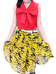 abordables -Fille Quotidien Vacances Couleur Pleine Fleur Ensemble de Vêtements, Coton Polyester Eté Sans Manches Basique Sophistiqué Blanc Rouge