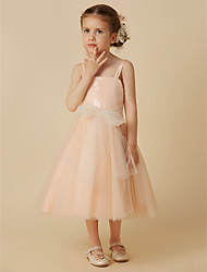 cheap -A-Line Tea Length Flower Girl Dress - Tulle Sequined Sleeveless Spaghetti Straps with Sequin Bow(s) Sash / Ribbon by LAN TING BRIDE®
