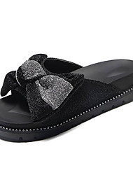 cheap -Women's Shoes PU Spring Summer Comfort Slippers & Flip-Flops Flat Heel Round Toe Bowknot for Black Silver