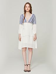 cheap -SHE IN SUN Women's Basic Boho Shift Dress - Color Block Tassel