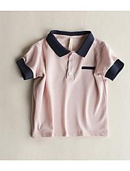 abordables -Garçon Quotidien Couleur Pleine Tee-shirts, Polyester Eté Demi Manches Basique Blanc Rose Claire Jaune Bleu clair