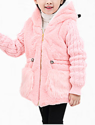 cheap -Girls' Daily Embroidered Down & Cotton Padded, Polyester Winter Spring Fall Long Sleeves Floral White Pink Khaki