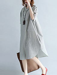cheap -Women's Loose Tunic Dress - Striped Low Waist V Neck